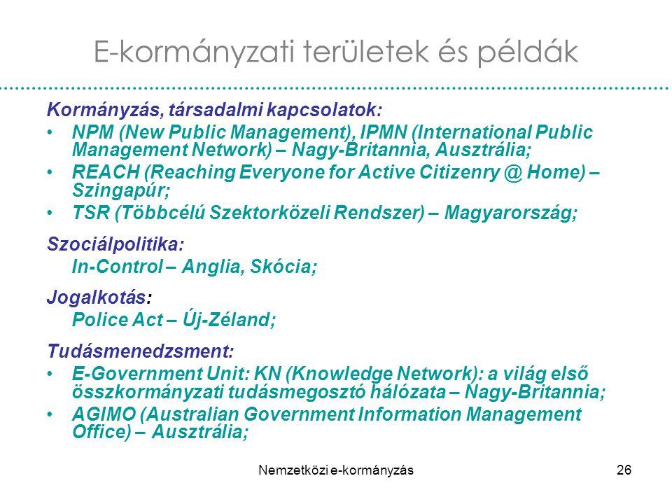 E-kormányzati területek és példák