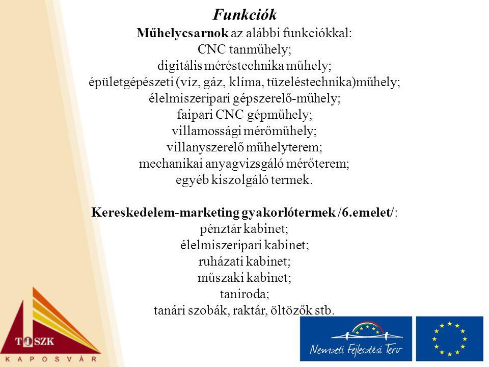 Funkciók Műhelycsarnok az alábbi funkciókkal: CNC tanműhely;