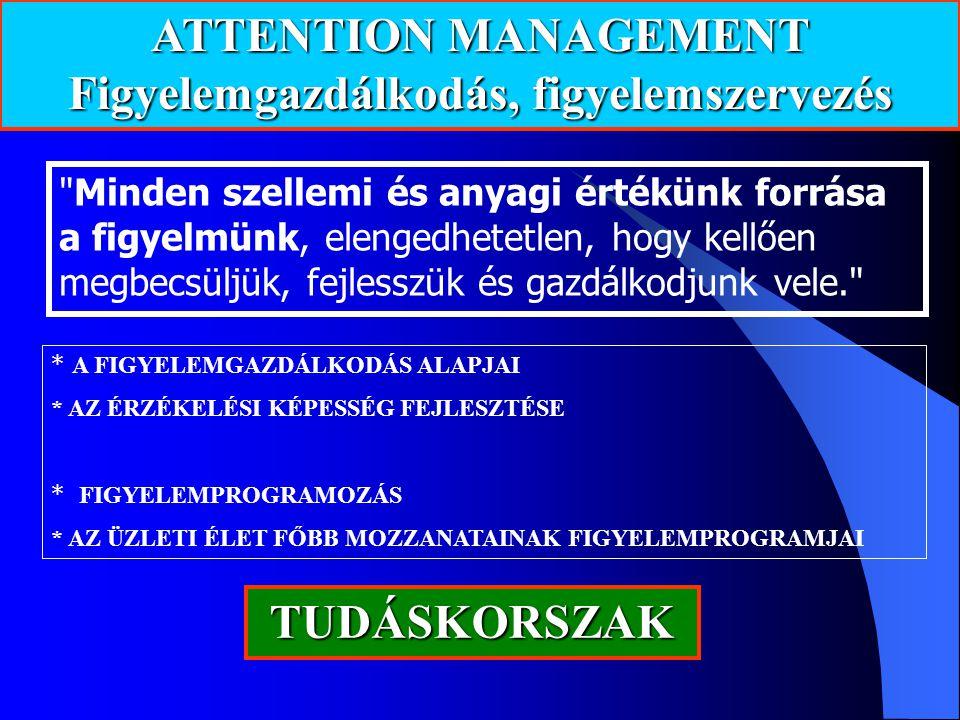 ATTENTION MANAGEMENT Figyelemgazdálkodás, figyelemszervezés