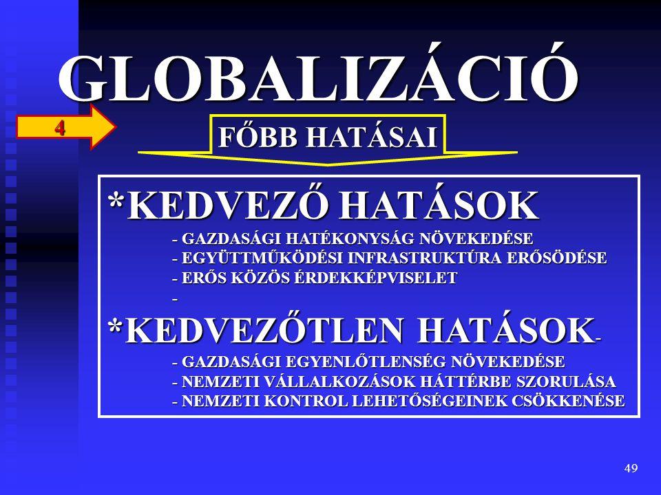 GLOBALIZÁCIÓ 4. FŐBB HATÁSAI.