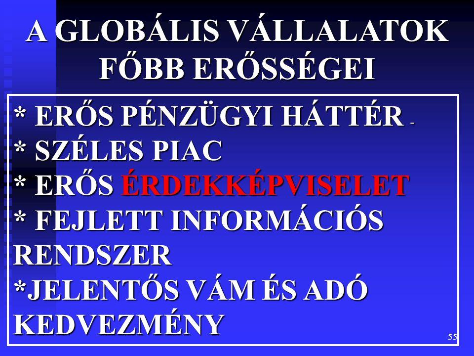 A GLOBÁLIS VÁLLALATOK FŐBB ERŐSSÉGEI