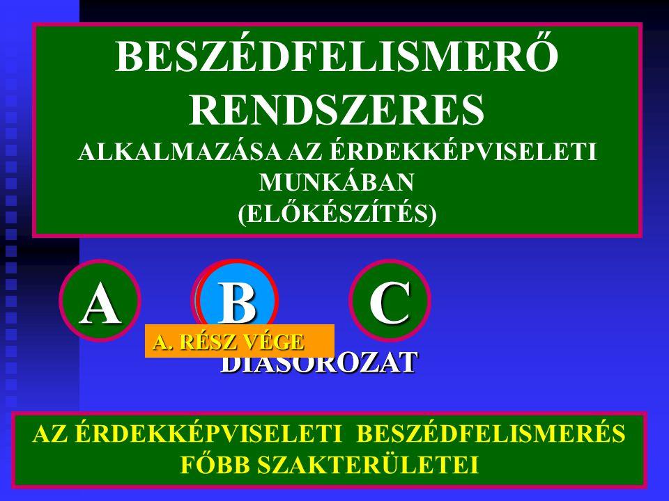 A B B B B C C C C BESZÉDFELISMERŐ RENDSZERES DIASOROZAT DIASOROZAT
