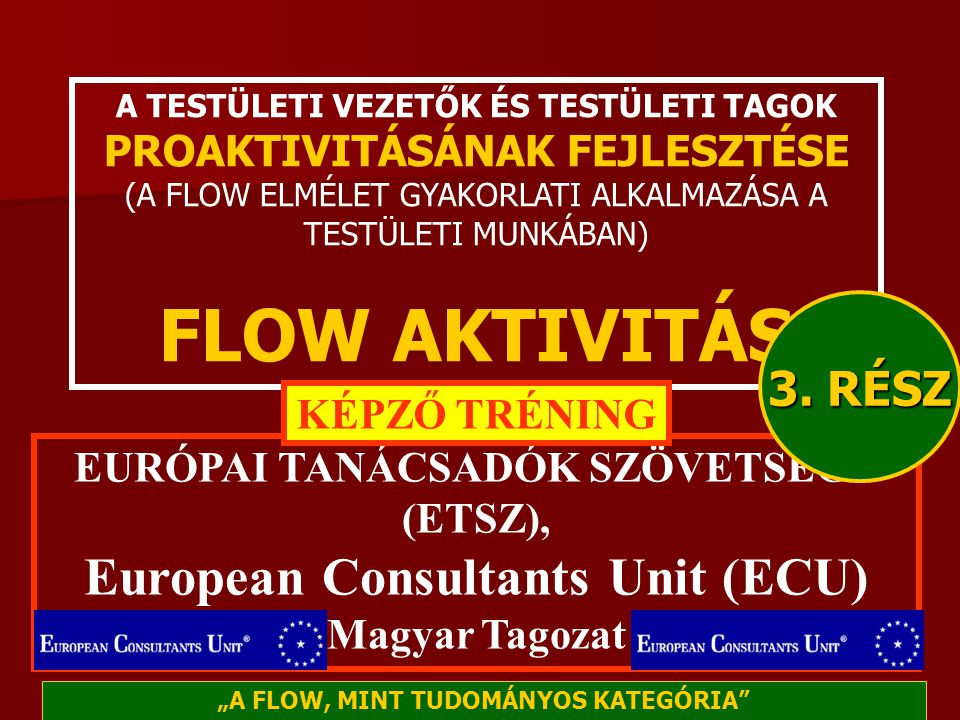 FLOW AKTIVITÁS European Consultants Unit (ECU) 3. RÉSZ KÉPZŐ TRÉNING