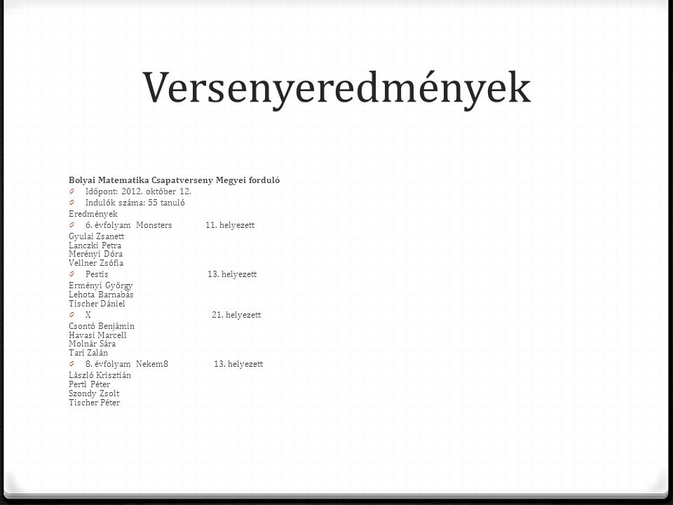 Versenyeredmények Bolyai Matematika Csapatverseny Megyei forduló