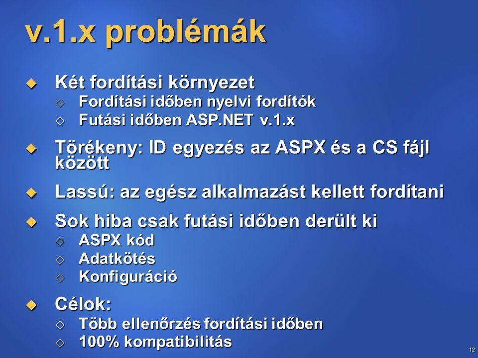 v.1.x problémák Két fordítási környezet