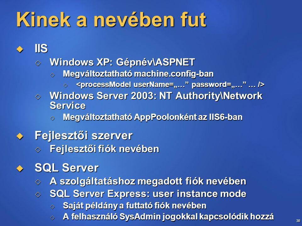 Kinek a nevében fut IIS Fejlesztői szerver SQL Server