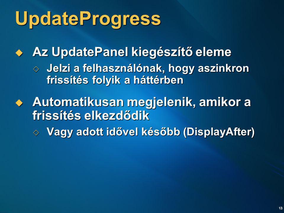 UpdateProgress Az UpdatePanel kiegészítő eleme