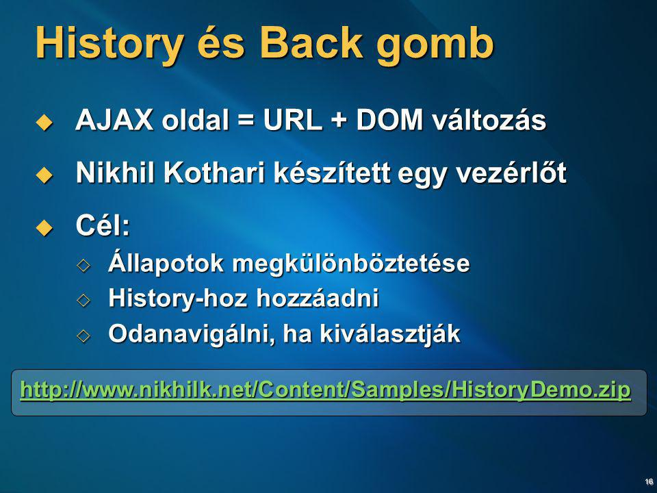 History és Back gomb AJAX oldal = URL + DOM változás