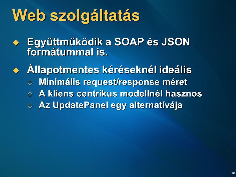 Web szolgáltatás Együttműködik a SOAP és JSON formátummal is.