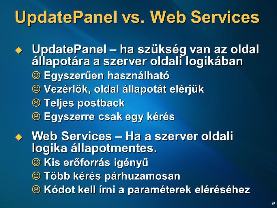 UpdatePanel vs. Web Services