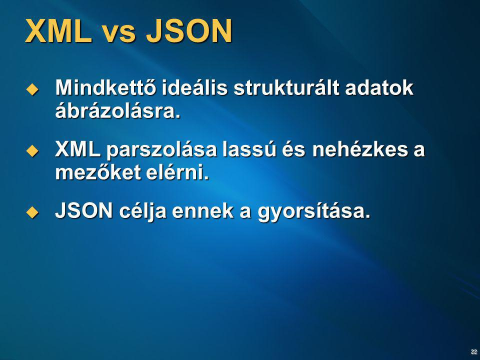 XML vs JSON Mindkettő ideális strukturált adatok ábrázolásra.
