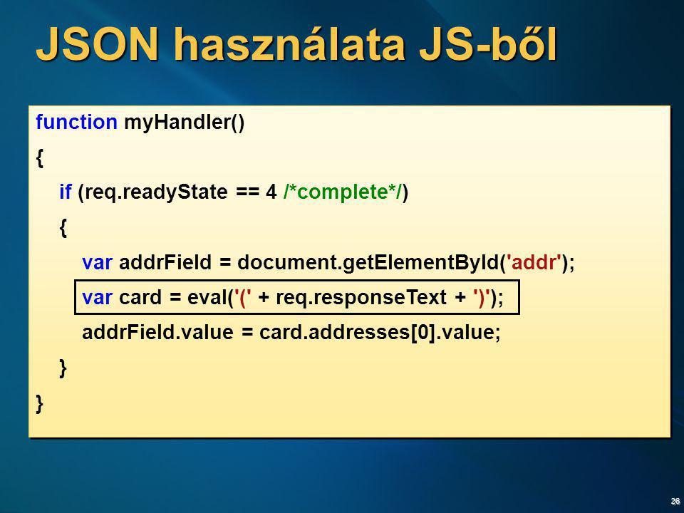 JSON használata JS-ből