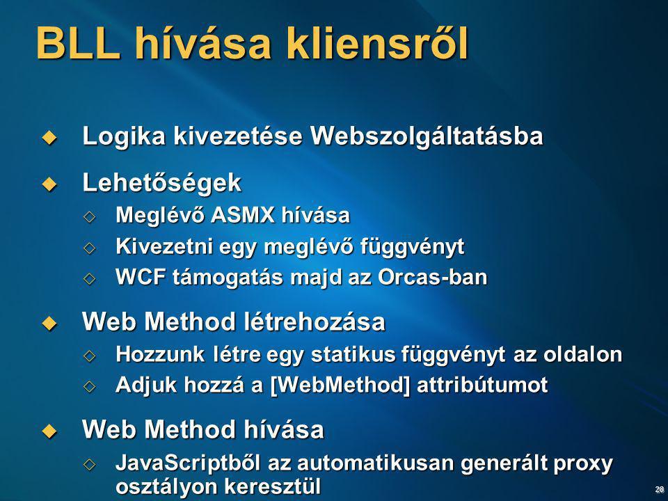 BLL hívása kliensről Logika kivezetése Webszolgáltatásba Lehetőségek