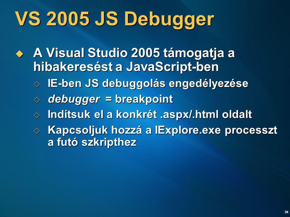 VS 2005 JS Debugger A Visual Studio 2005 támogatja a hibakeresést a JavaScript-ben. IE-ben JS debuggolás engedélyezése.