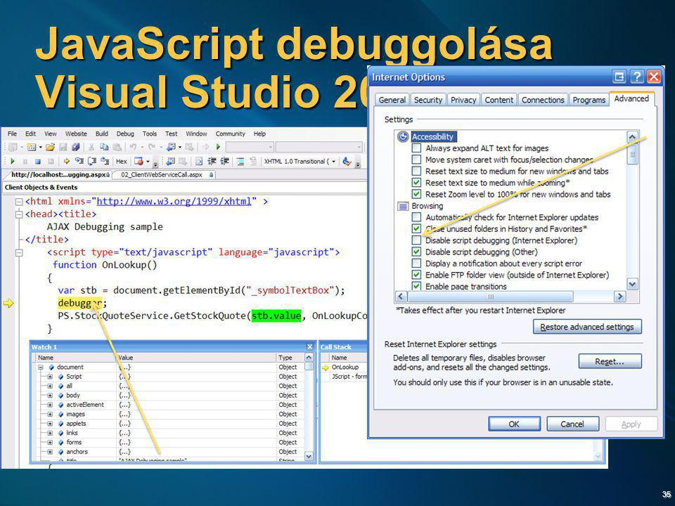 JavaScript debuggolása Visual Studio 2005-tel