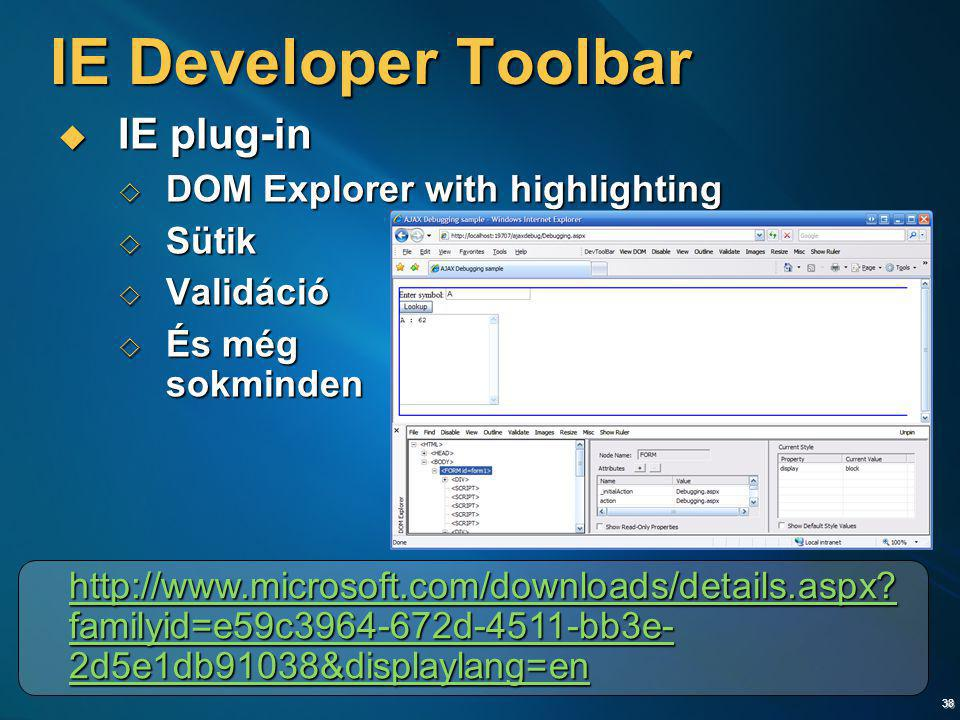 IE Developer Toolbar IE plug-in DOM Explorer with highlighting Sütik