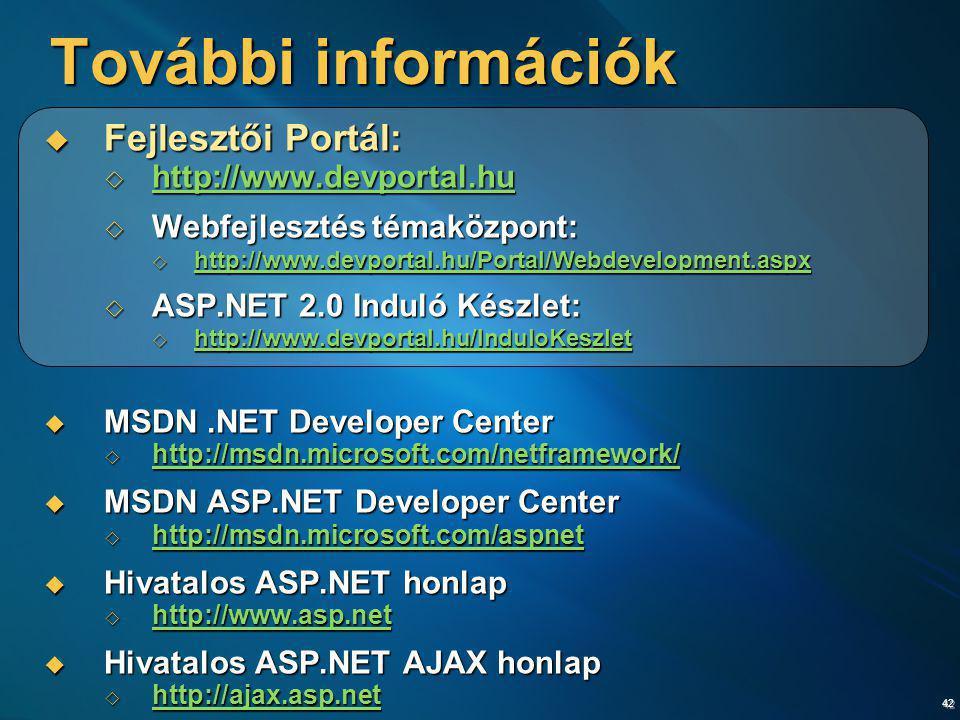 További információk Fejlesztői Portál: http://www.devportal.hu