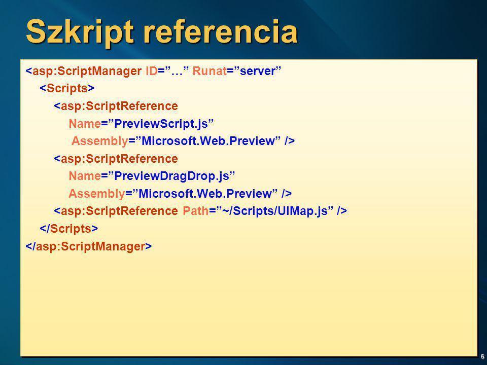Szkript referencia <asp:ScriptManager ID= … Runat= server