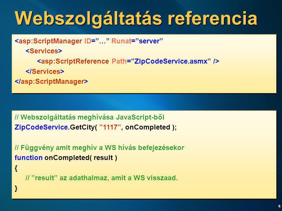 Webszolgáltatás referencia