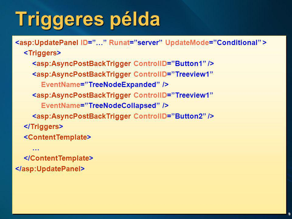 Triggeres példa <asp:UpdatePanel ID= … Runat= server UpdateMode= Conditional > <Triggers> <asp:AsyncPostBackTrigger ControlID= Button1 />