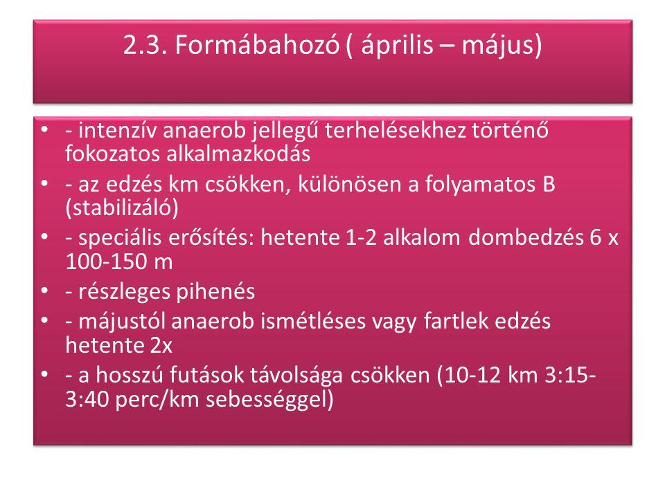 2.3. Formábahozó ( április – május)