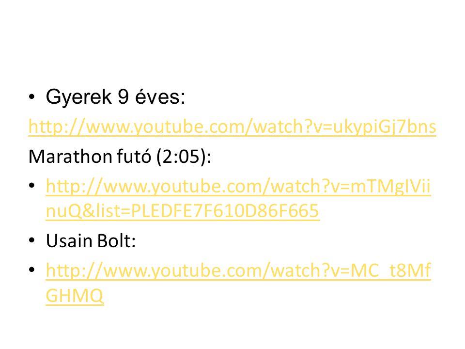 Gyerek 9 éves: http://www.youtube.com/watch v=ukypiGj7bns. Marathon futó (2:05): http://www.youtube.com/watch v=mTMgIViinuQ&list=PLEDFE7F610D86F665.