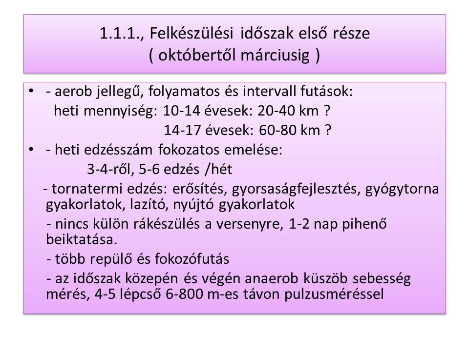 1.1.1., Felkészülési időszak első része ( októbertől márciusig )