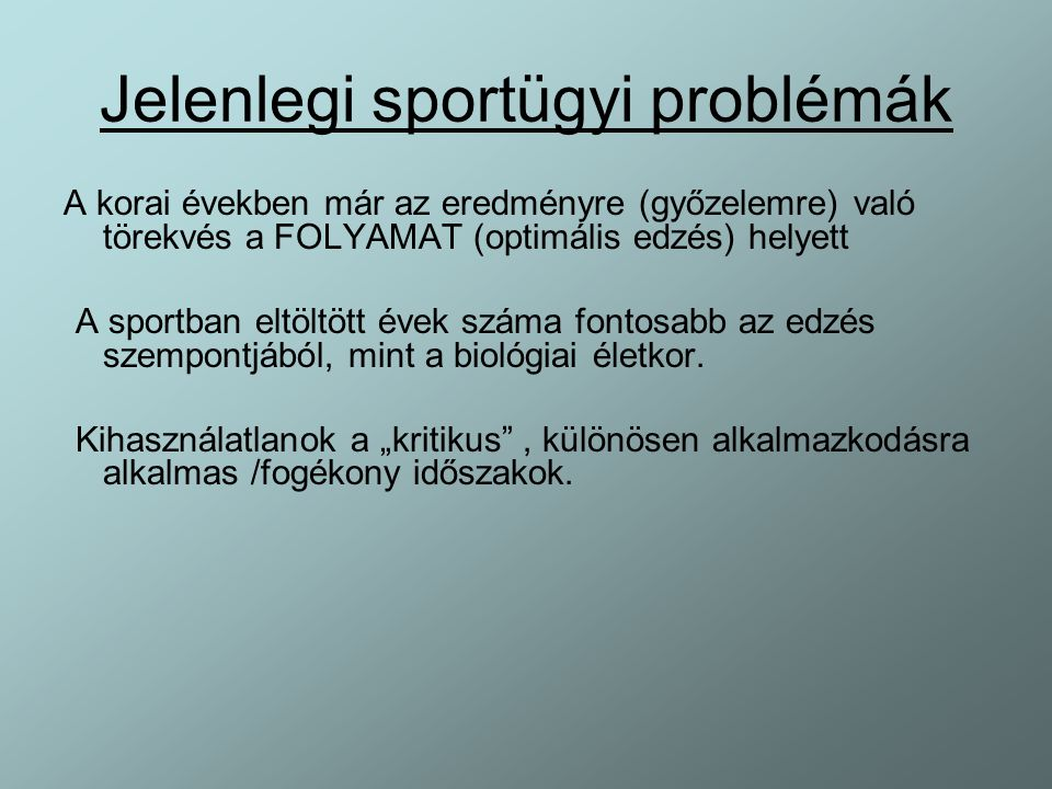 Jelenlegi sportügyi problémák
