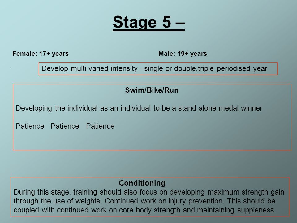 Stage 5 – Female: 17+ years Male: 19+ years. .