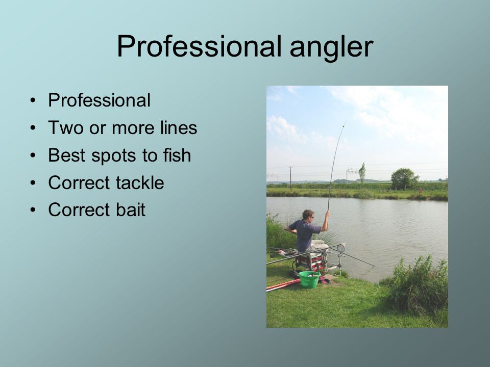 Professional angler Professional Two or more lines Best spots to fish