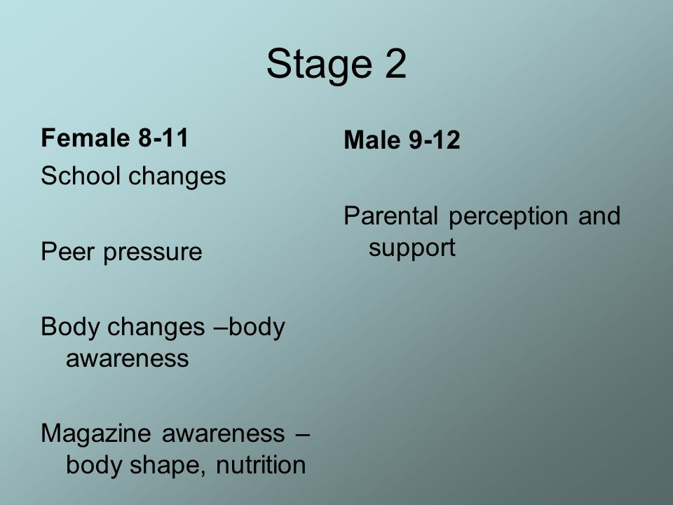 Stage 2 Female 8-11 Male 9-12 School changes