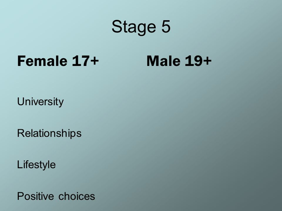 Stage 5 Female 17+ Male 19+ University Relationships Lifestyle