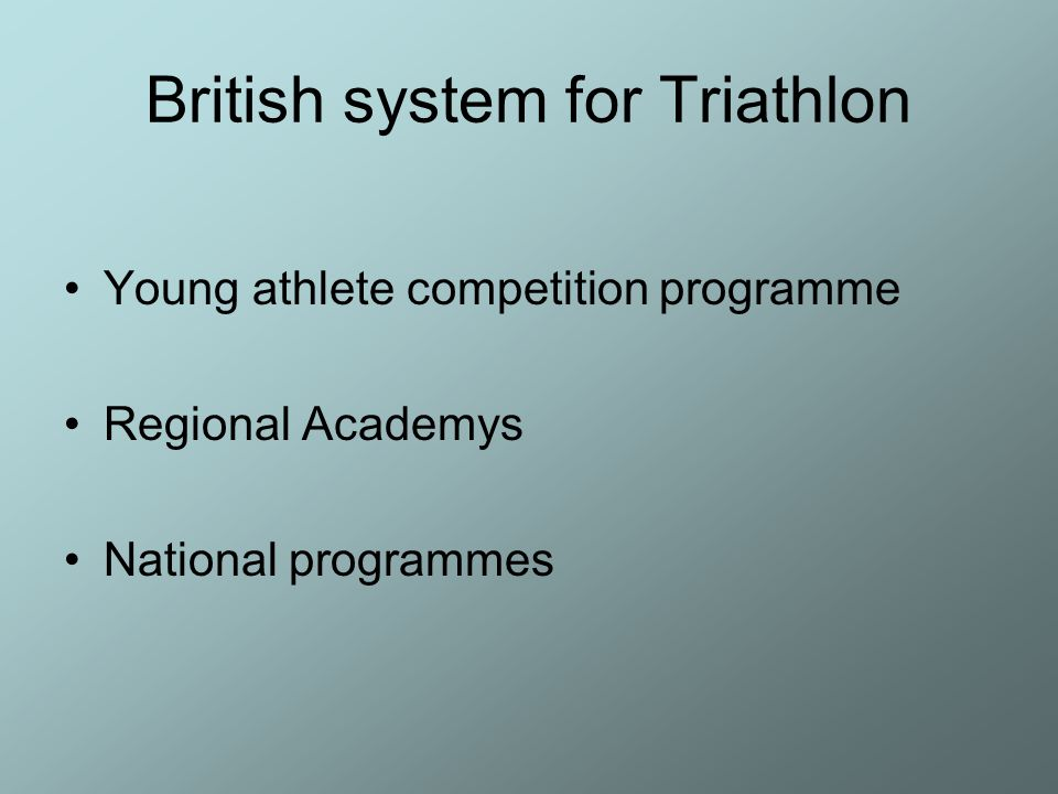 British system for Triathlon