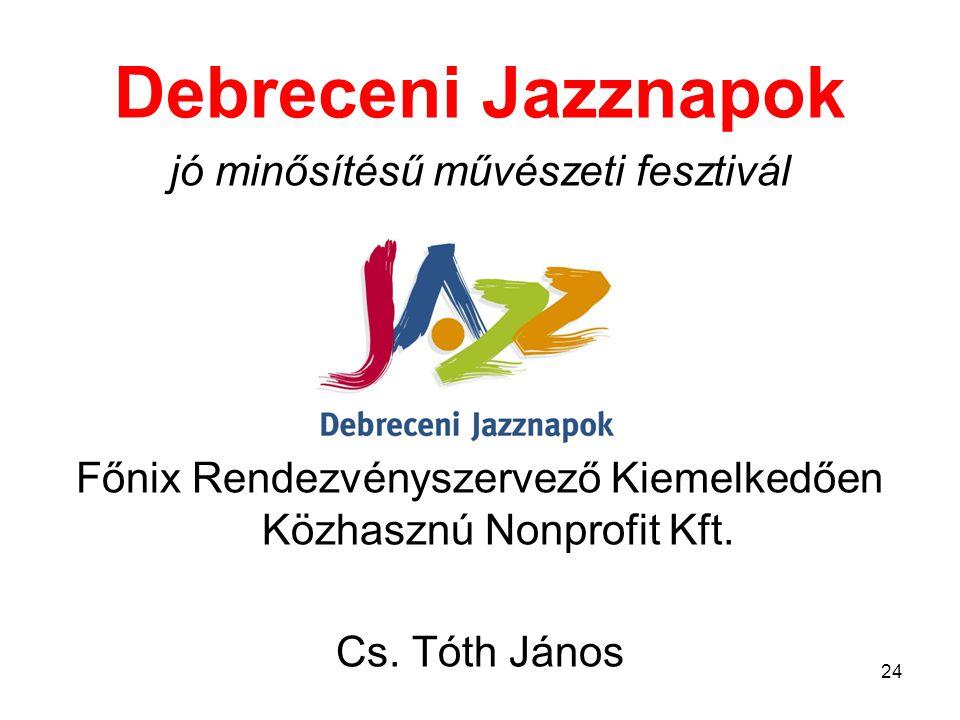Debreceni Jazznapok jó minősítésű művészeti fesztivál