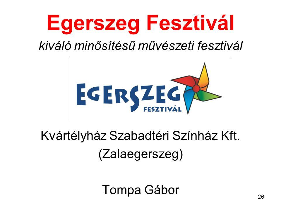 Egerszeg Fesztivál kiváló minősítésű művészeti fesztivál