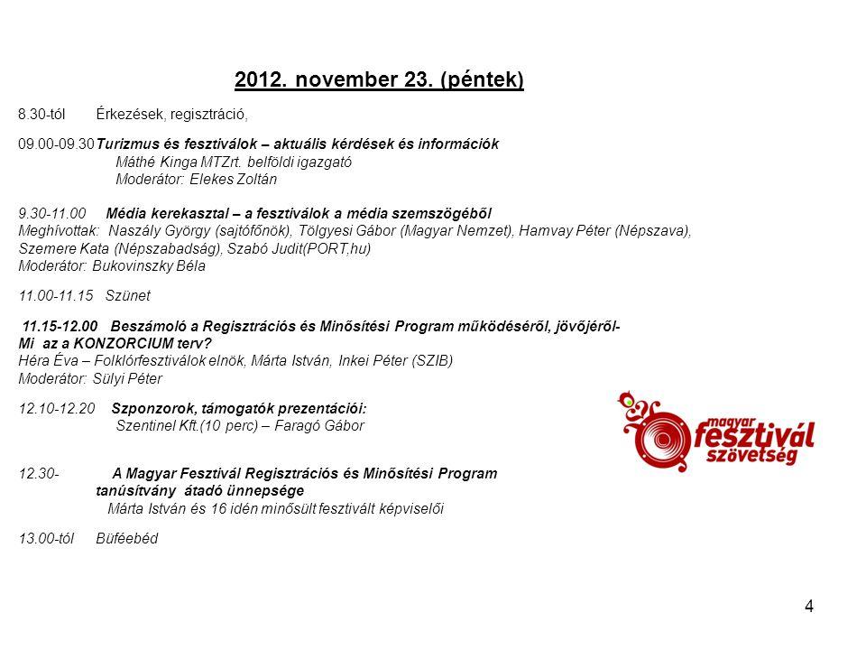 2012. november 23. (péntek) 8.30-tól Érkezések, regisztráció,