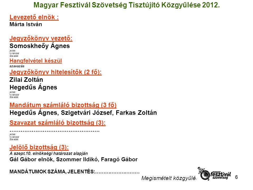 Magyar Fesztivál Szövetség Tisztújító Közgyűlése 2012.