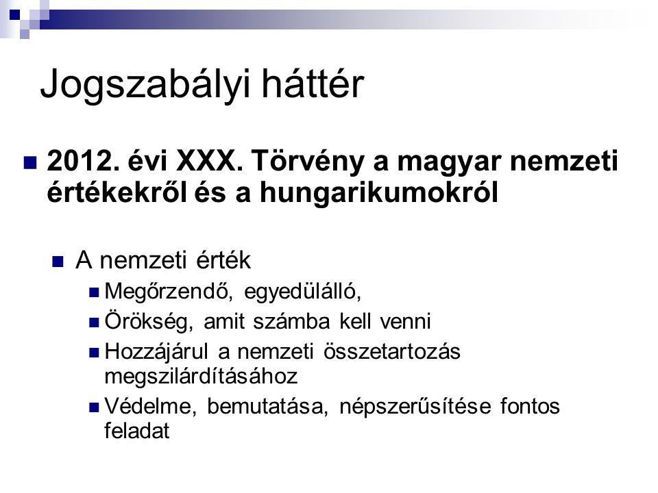 Jogszabályi háttér 2012. évi XXX. Törvény a magyar nemzeti értékekről és a hungarikumokról. A nemzeti érték.