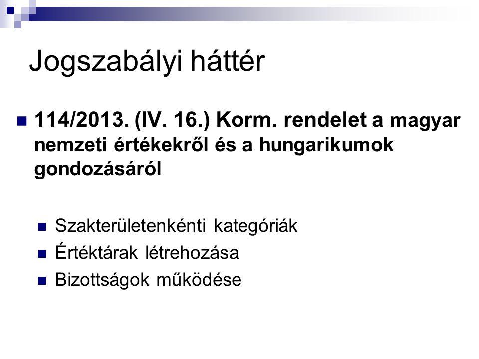 Jogszabályi háttér 114/2013. (IV. 16.) Korm. rendelet a magyar nemzeti értékekről és a hungarikumok gondozásáról.