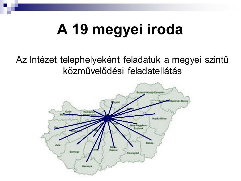 A 19 megyei iroda Az Intézet telephelyeként feladatuk a megyei szintű közművelődési feladatellátás