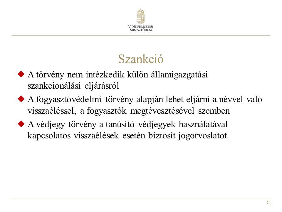 Szankció A törvény nem intézkedik külön államigazgatási szankcionálási eljárásról.