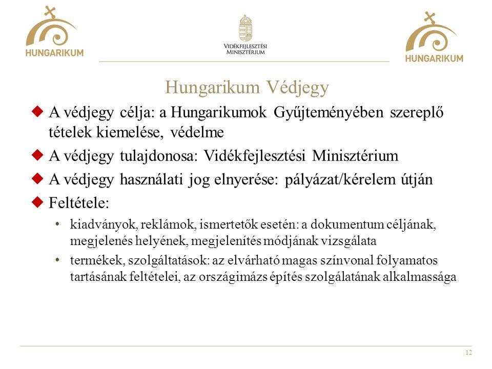 Hungarikum Védjegy A védjegy célja: a Hungarikumok Gyűjteményében szereplő tételek kiemelése, védelme.
