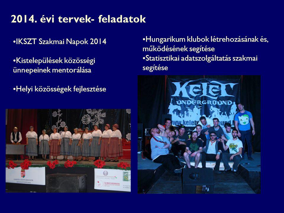 2014. évi tervek- feladatok Hungarikum klubok létrehozásának és, működésének segítése. Statisztikai adatszolgáltatás szakmai segítése.