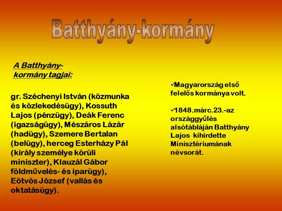 Batthyány-kormány A Batthyány-kormány tagjai: