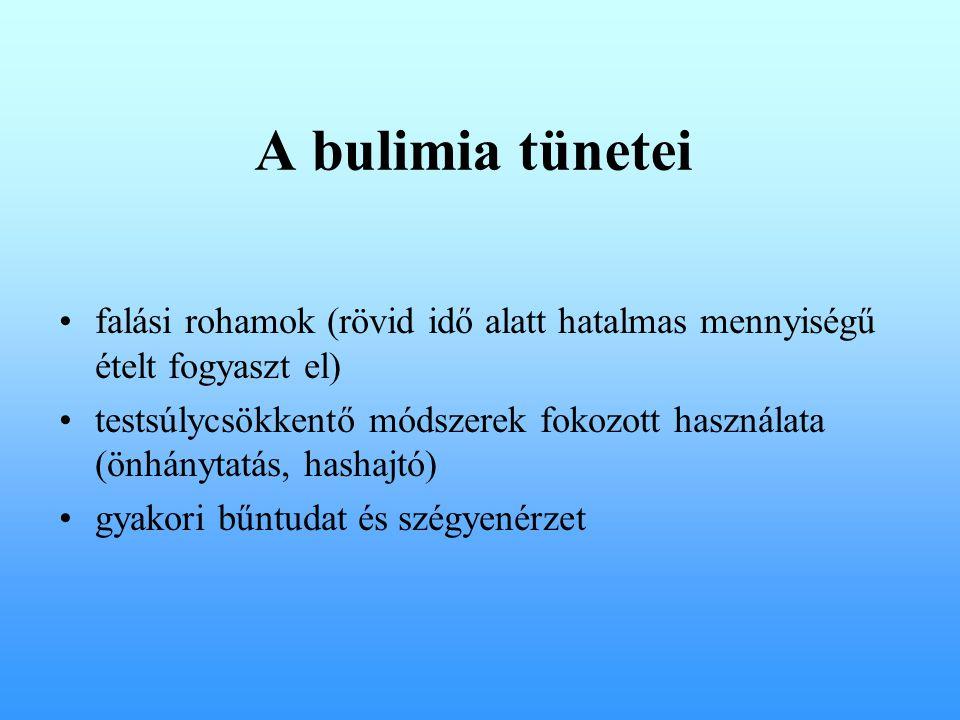A bulimia tünetei falási rohamok (rövid idő alatt hatalmas mennyiségű ételt fogyaszt el)