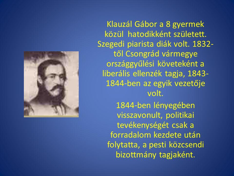 Klauzál Gábor a 8 gyermek közül hatodikként született