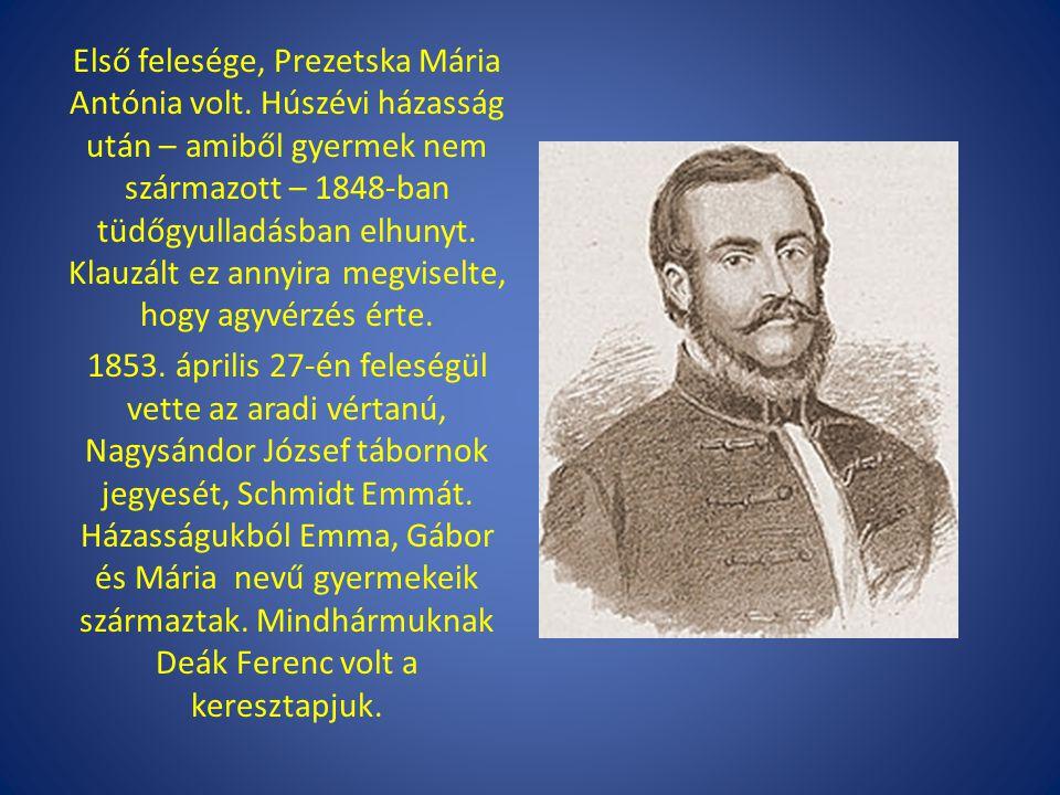Első felesége, Prezetska Mária Antónia volt