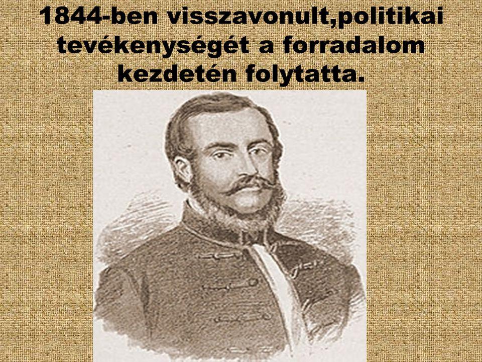 1844-ben visszavonult,politikai tevékenységét a forradalom kezdetén folytatta.