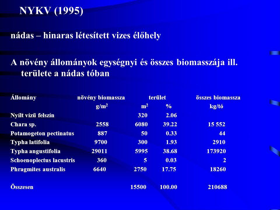 NYKV (1995) nádas – hinaras létesített vizes élőhely