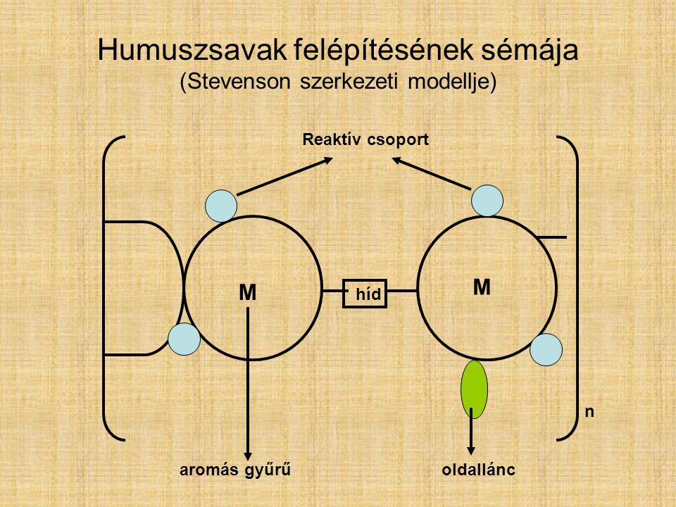 Humuszsavak felépítésének sémája (Stevenson szerkezeti modellje)